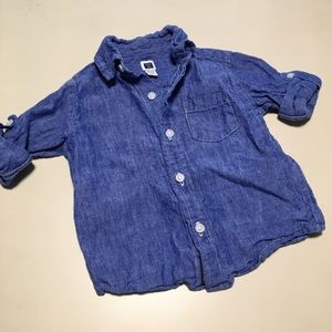 Janie and Jack Baby Button Down Linen Shirt Boy 6